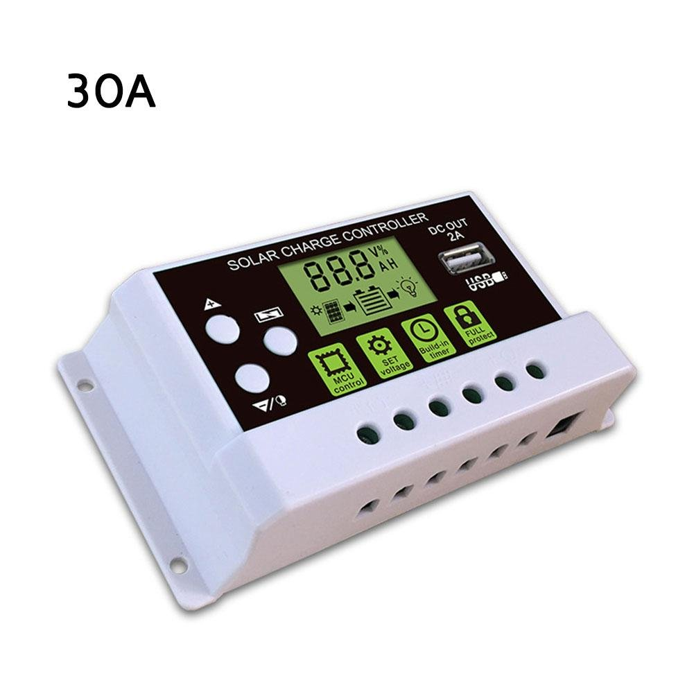 Intelligent Solar Charge Controller Regulator LCD Display 2A USB Output For Lithium And Lead-acid Battery 12V 24V 10A 20A 30A DC Ksruee