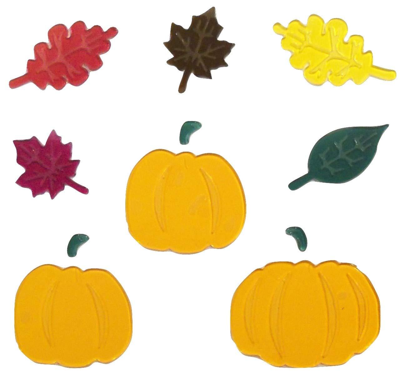 Impact Innovations Fall Harvest Reusable Gel Window Clings ~ Pumpkins with Stems, Maple Leaves, Oak Leaves (11 Clings, 1 Sheet)