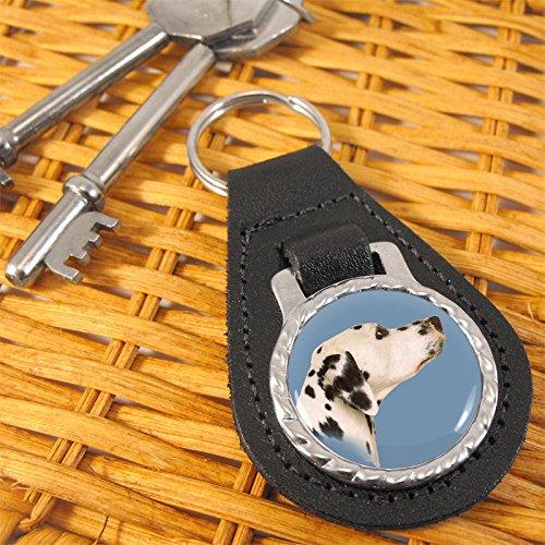 (Dalmatian Dog Bonded Leather Keychain)