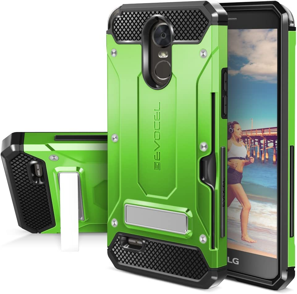 LG G Stylo 3 Case, Evocel [Explorer Series Pro] Premium Dual Layer Protector with Credit Card Slot and Metal Magnetic Kickstand for LG G Stylo 3 (2017 Release), Green (EVO-LGSTYLO3-CK12)