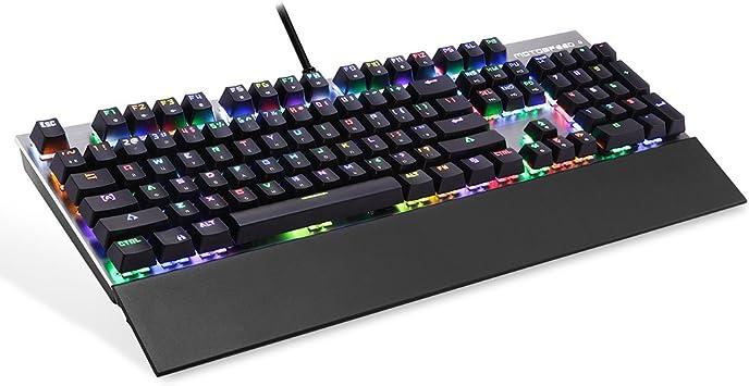 MOTOSPEED Teclado para juegos con cable USB Motorspeed CK108 ...