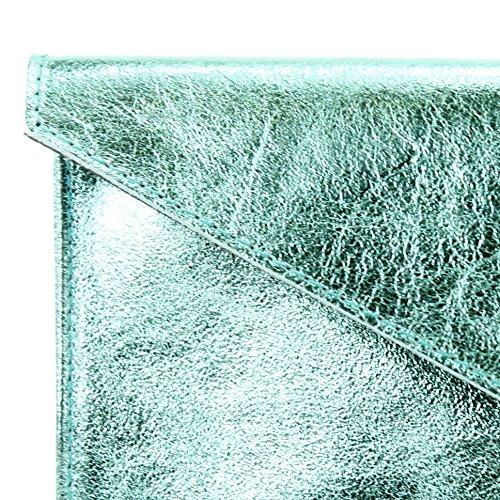 modamoda de - Made in Italy - Cartera de mano para mujer M106 Hellblau Metallic