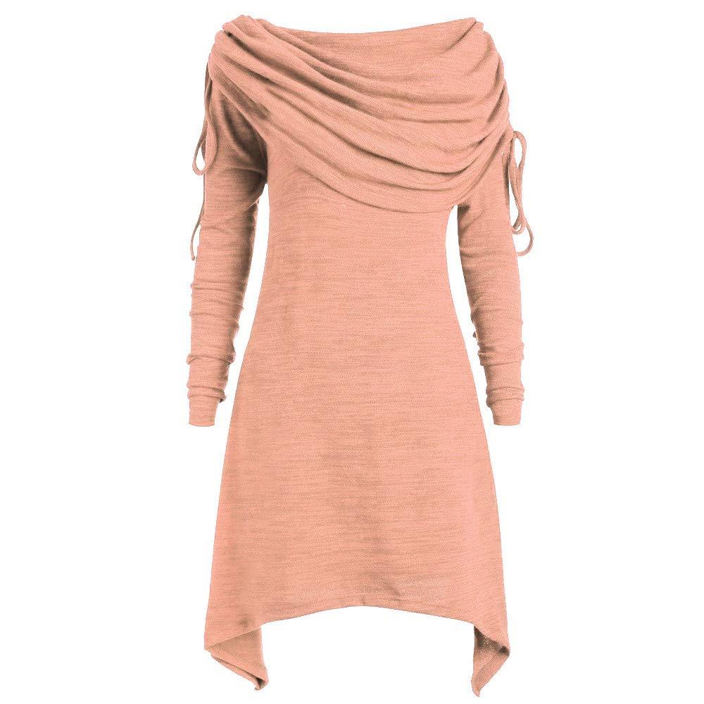 Sweatshirts Women KYLEON Plus Size Fashion Solid Ruched Long Foldover Collar Tunic Top Blouse Orange by KYLEON_Sweatshirts