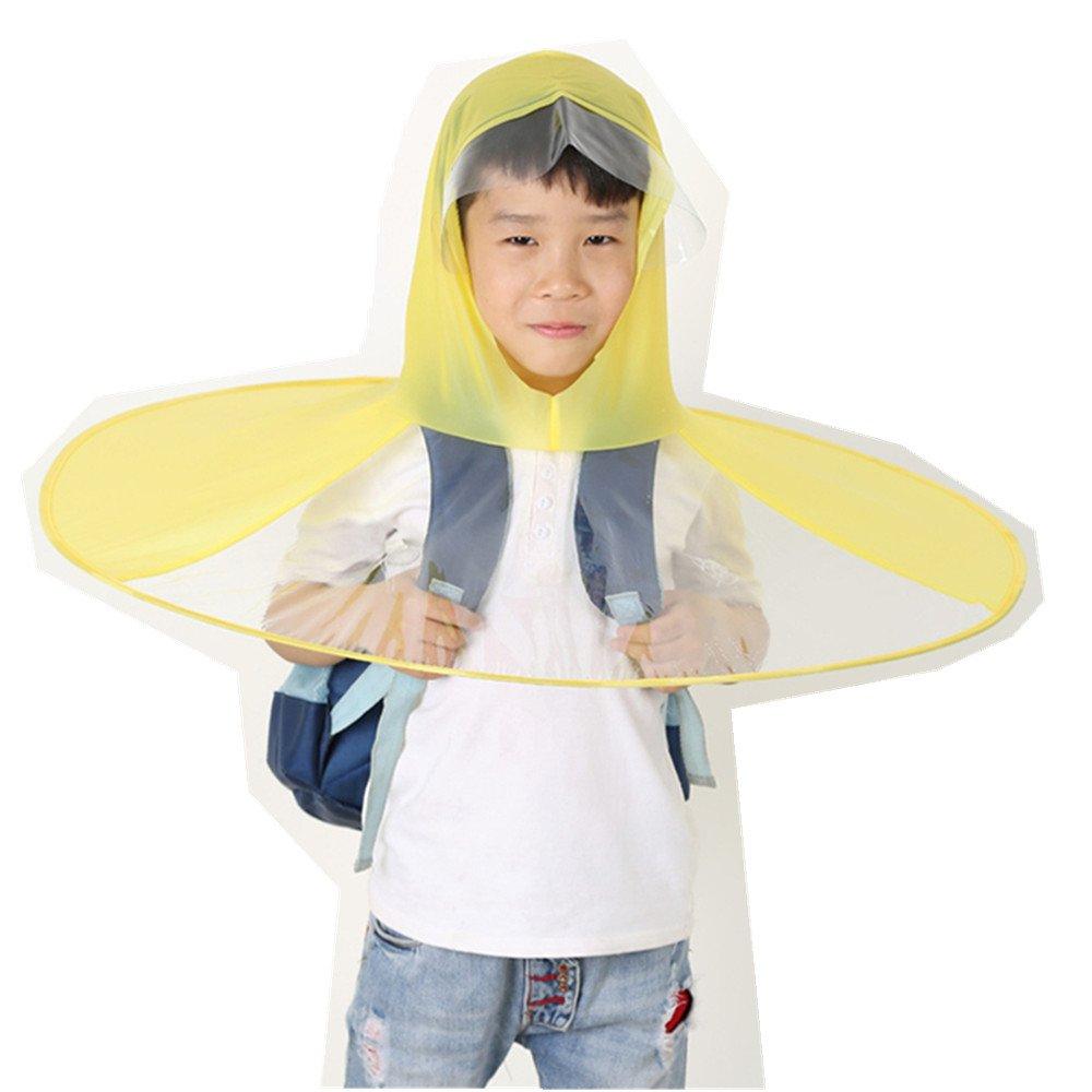 Newfangled UFO Shape raincoat rain coat poncho Replace daily kids umbrellas (L, Yellow)