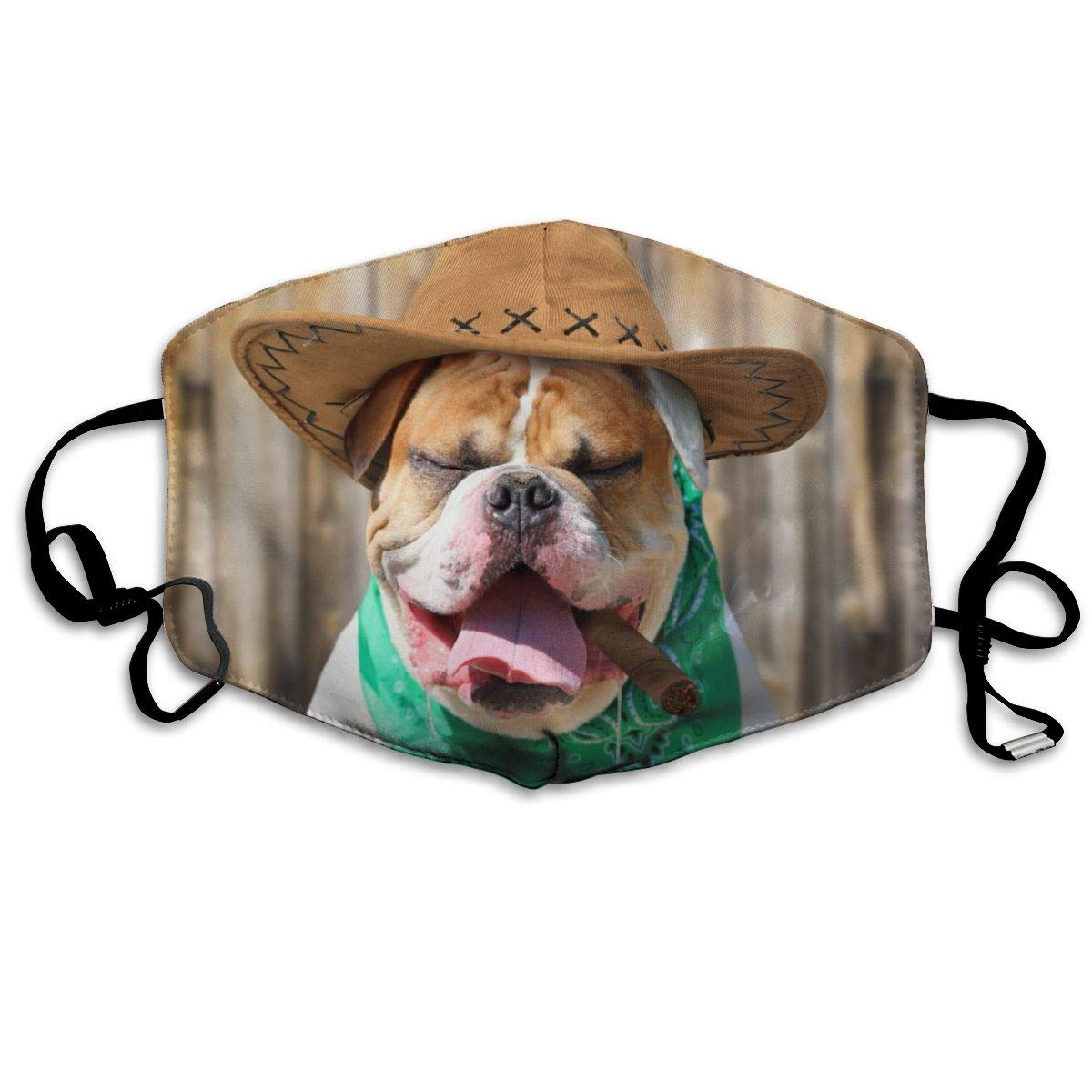 Mouth Mask American Bulldog In Cowboy Hat Fashion Earloop Face Mask For Kids Teens Men Women Winter Summer