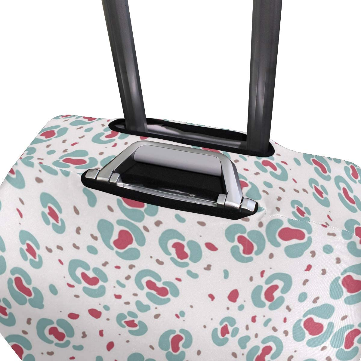 White Petals Leopard Print Traveler Lightweight Rotating Luggage Protector Case Can Carry With You Can Expand Travel Bag Trolley Rolling Luggage Protector Case