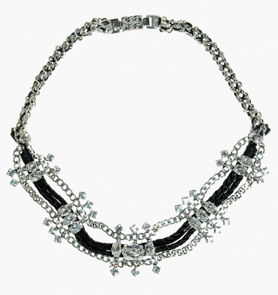 OTAZU Crystal Elements on Chain and Leather Necklace