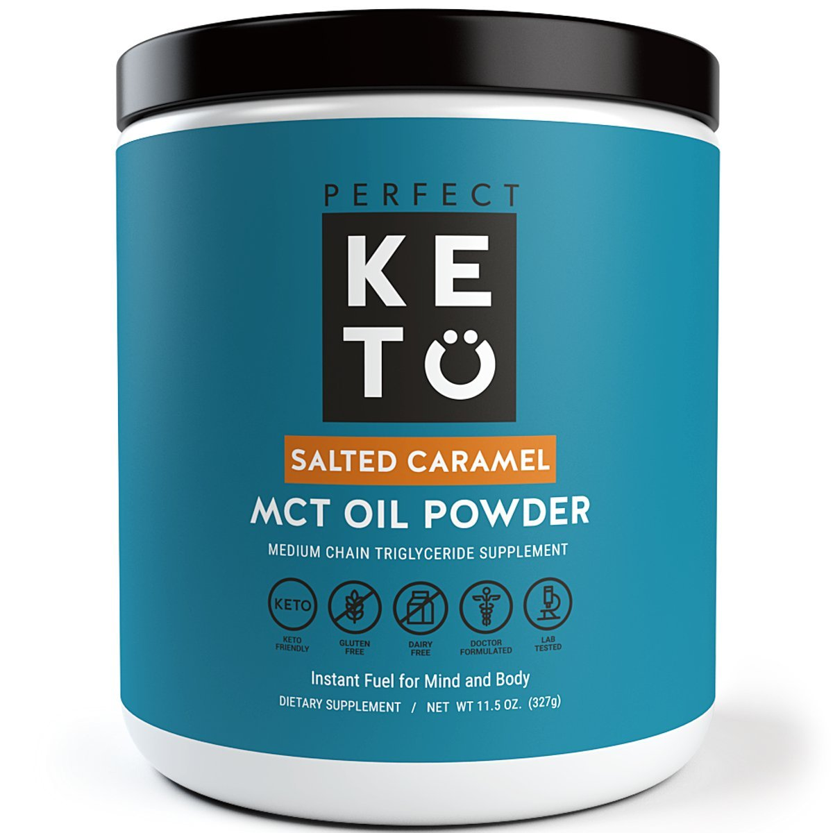 Perfect Keto MCT Oil Powder: Salted Caramel Ketosis Supplement (Medium Chain Triglycerides - Coconuts) for Ketone Energy - Paleo Natural Non Dairy Ketogenic Keto Coffee Creamer