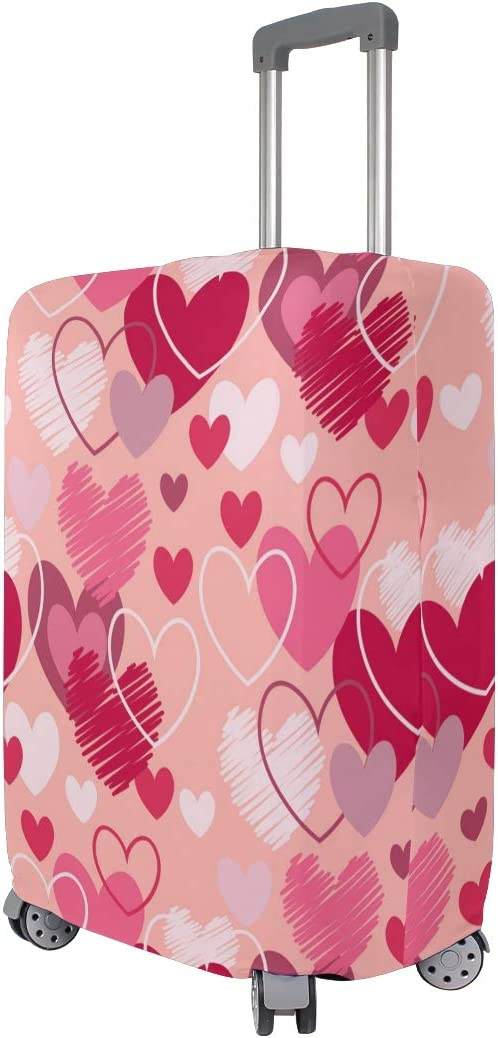 3D Line Heart Print Luggage Protector Travel Luggage Cover Trolley Case Protective Cover Fits 18-32 Inch
