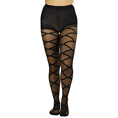 ToBeInStyle Women's Criss Cross Full Footed Pantyhose at Women's Clothing store