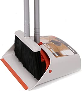 """Dust Pan and Broom Combo Set/Standing Upright Dustpan with 40""""/52"""" Long Handled Broom for Home Office Industry Lobby Floor Sweeping"""