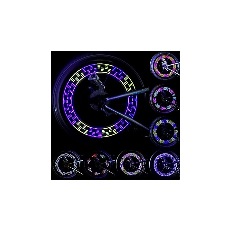 LEBOLIKE Bike Wheel Lights Waterproof Colorful LEDs Spoke Lights for Bicycle Wheel Spoke 30 Pattern Decorations (1 Piece for 1 Tire)