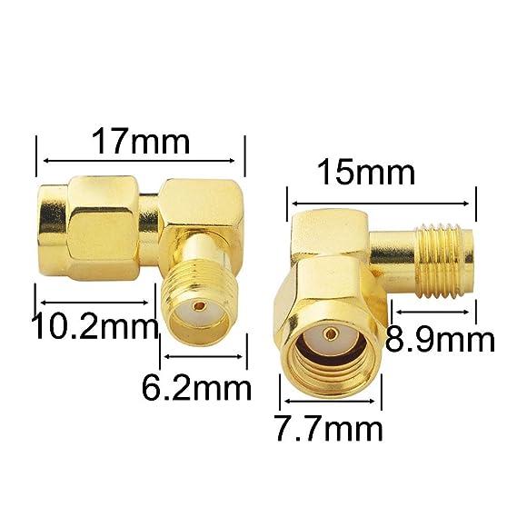 Adaptador RF conector coaxial RP-SMA macho a SMA hembra 90 grados ángulo derecho chapado en oro uso para antena enchufe fatshark gafas Hsdpa Huawei 2G ...
