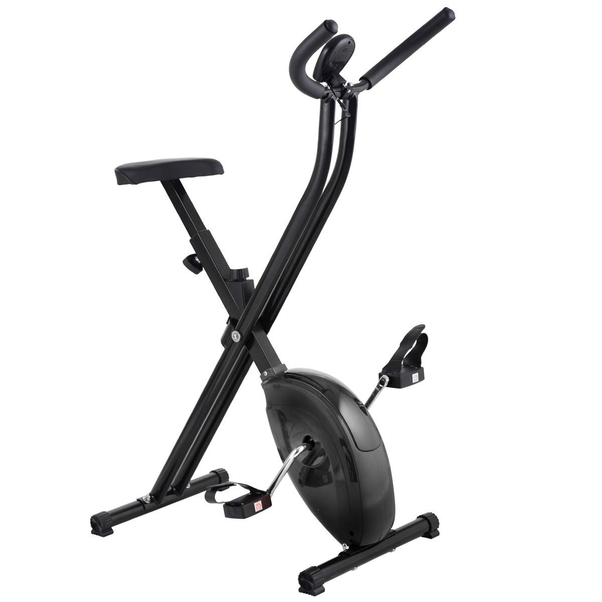 Folding Exercise Bike Home Magnetic Trainer Fitness Stationary Machine New - Black by Eight24hours