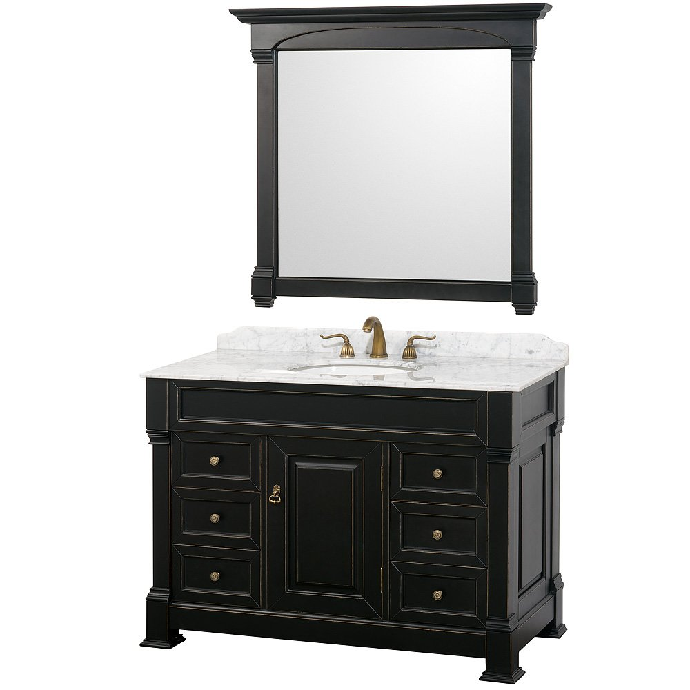 Wyndham Collection Andover 48 inch Single Bathroom Vanity in Antique Black, White Carrera Marble Countertop, White Undermount Round Sink, and 44 inch Mirror