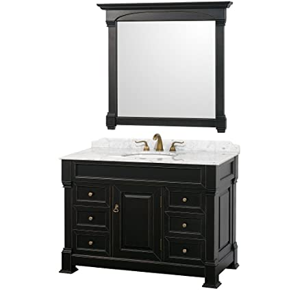 Wyndham Collection Andover 48 inch Single Bathroom Vanity in Antique Black,  White Carrera Marble Countertop - Wyndham Collection Andover 48 Inch Single Bathroom Vanity In Antique