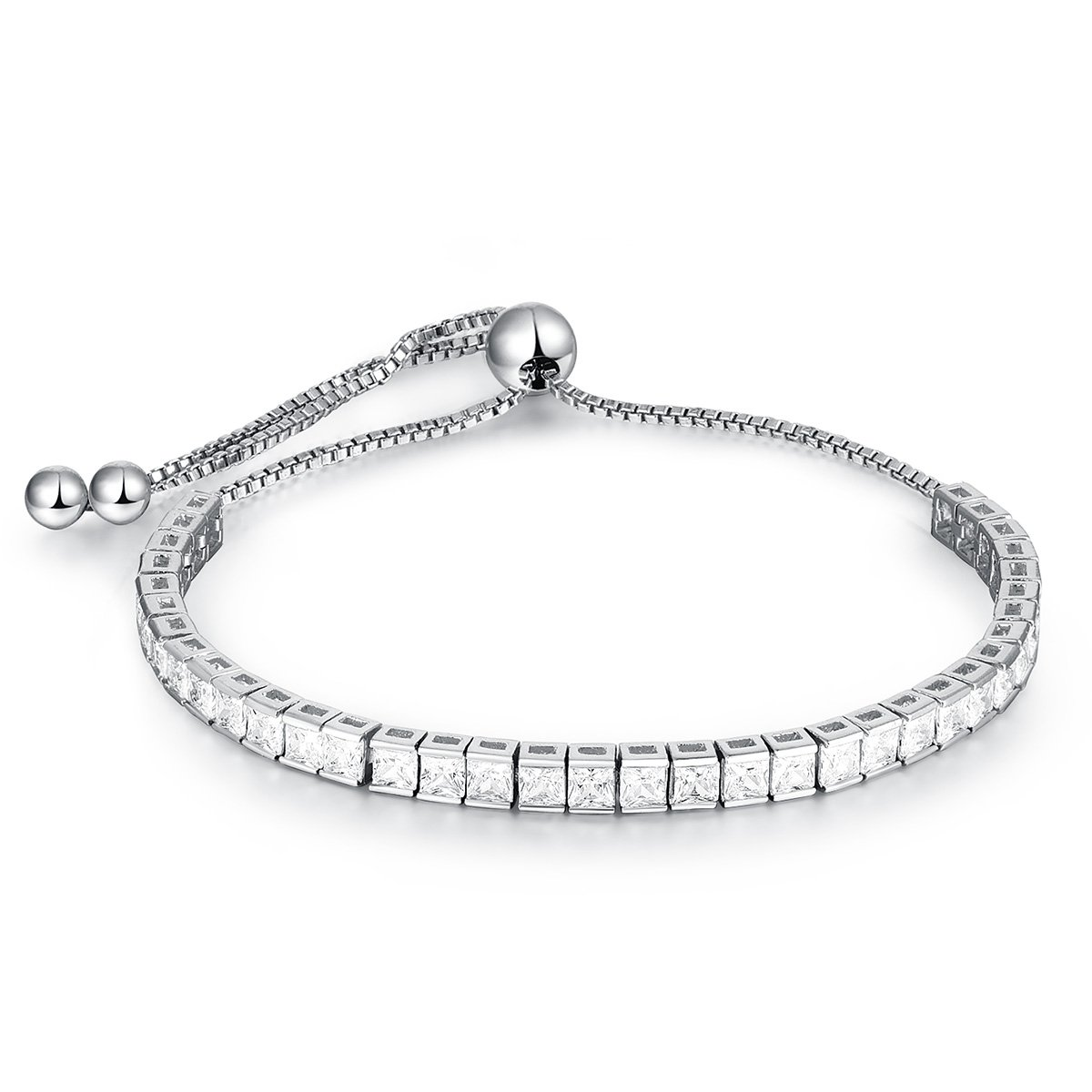 OPALTOP 4mm Princess Shape Cubic Zirconia Adjustable Tennis Bracelet White Gold Plated for Women Girls