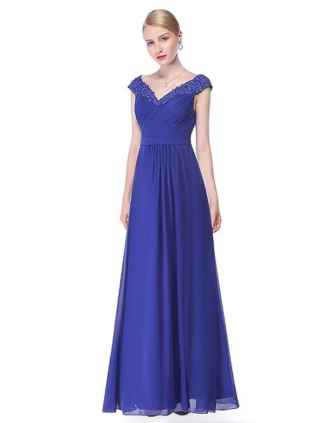Ever-Pretty Vestido de Cuello V Elegantes Vestidos de Gasa para Las Mujeres Maxi Vestidos