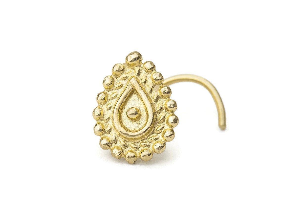 Indian Nose Stud: Large Gold 14K Handmade Nostril Screw in 18 Gauge