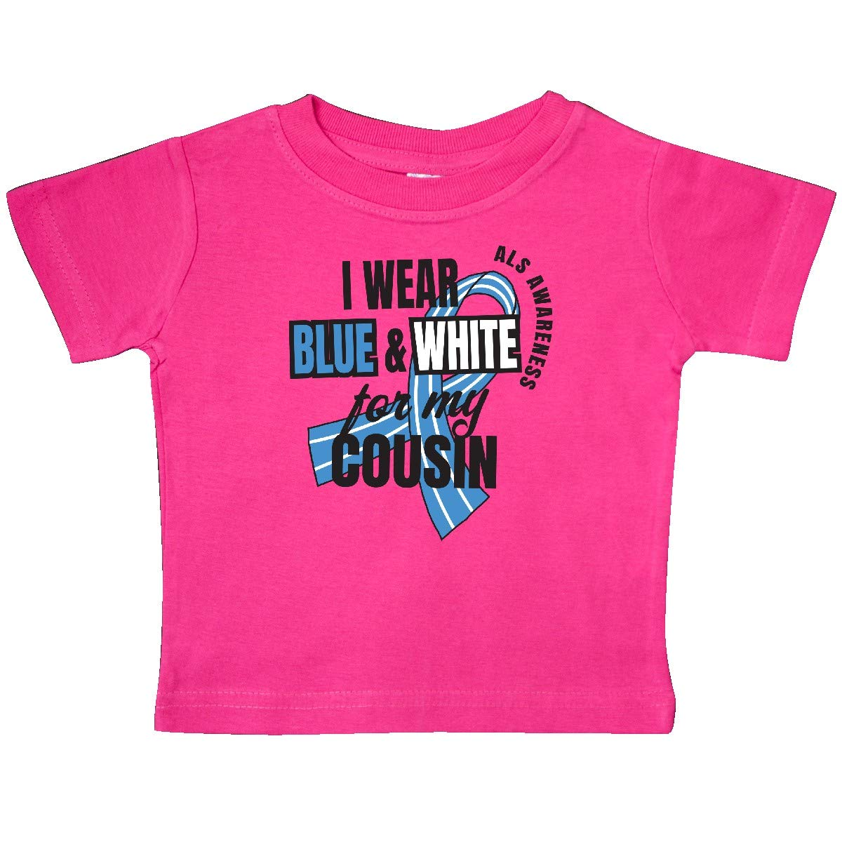 inktastic I Wear Blue and White for My Cousin ALS Awareness Baby T-Shirt