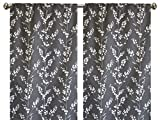 Pair of rod curtains 50'' wide panels graphite gray charcoal floral cream window treatment nursery cotton drapes 84 96 108