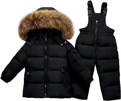 Down Pants Down Coat Garment Set Warm Clothes Amissz Unisex Baby Kids Snowsuits with Winter Hooded 2 Pcs Down Jacket