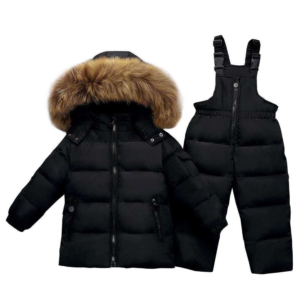 Kids 2-Piece Snowsuit Winter Puffer Jacket and Bib Snowpants Ultralight Skisuit Set Black 18-24 Months by JiAmy