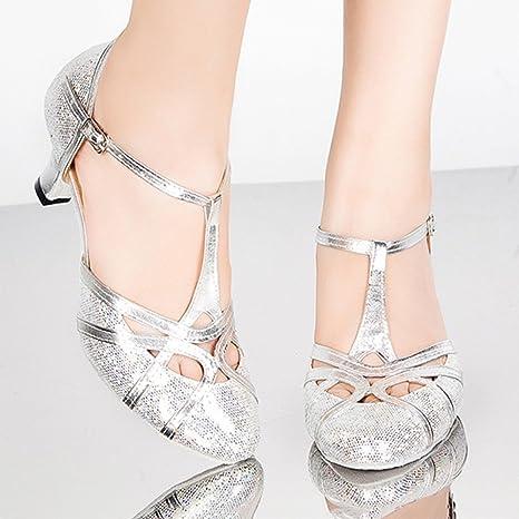 f53b8680 PENGFEI Zapatos De Baile Baile Latino Botines Medio Talón Cómodo Salón De  Baile De Las Mujeres