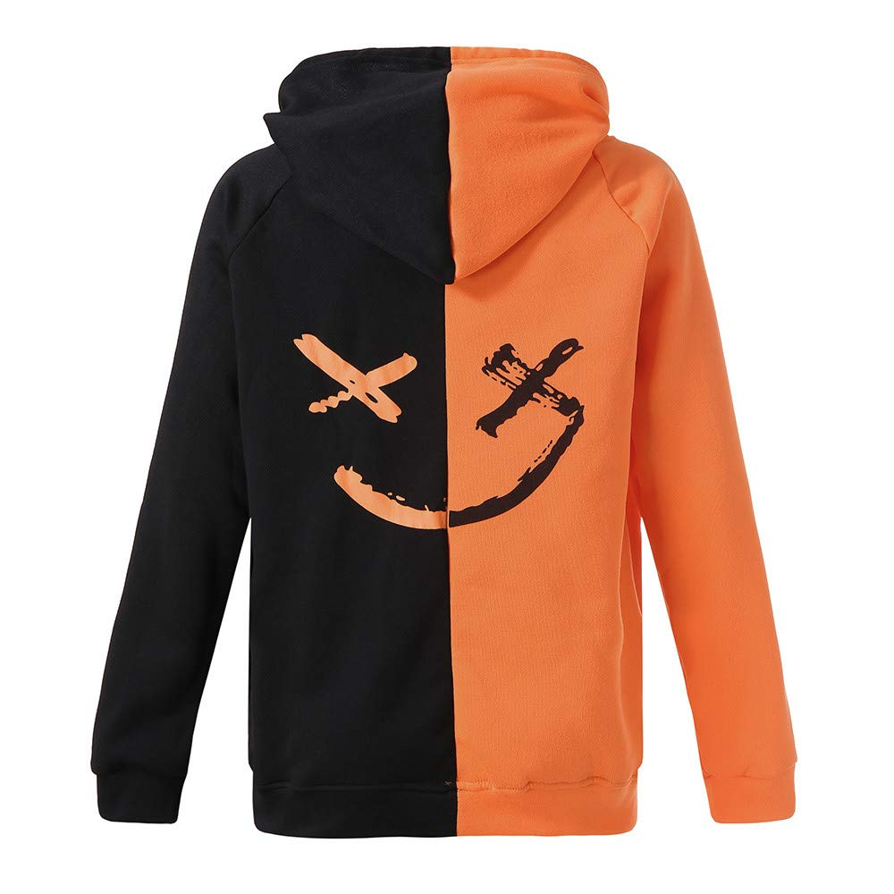 Amazon.com: FRCOLT Men Boys Smiling Face Half Block Print Sweatshirt Hoodie Pullover: Clothing
