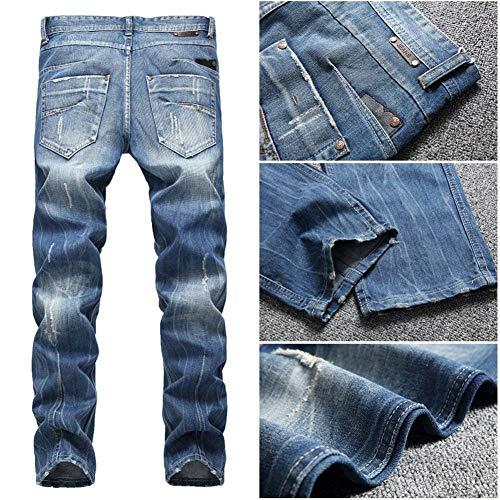 Pantaloni Slim Colour Denim Jeans Vintage Strappati Especial Gamba Uomo Fit Dritta Da Casual Estilo A rr6qwX