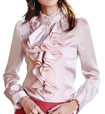 Cheerlife Damen Bluse Langarm Elegant Stehkragen mit Puffärmeln und Volants  Rüschung OL Business Slim Fit Chiffonbluse  Amazon.de  Bekleidung 83e6cc3f12