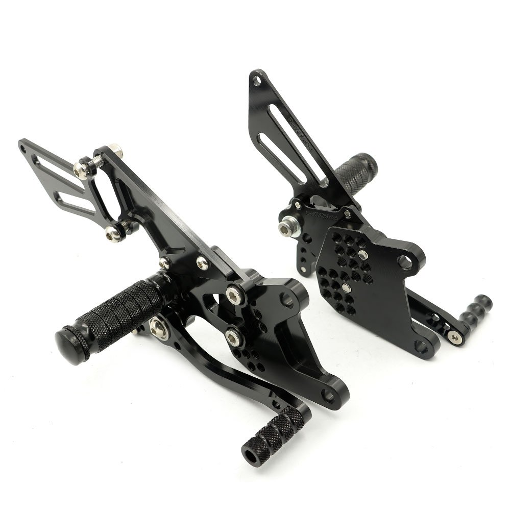 Alpha Rider Black CNC Billet Rearset Rear Sets Footpegs Adjustable For Kawasaki Ninja ZX10R 2006-2010