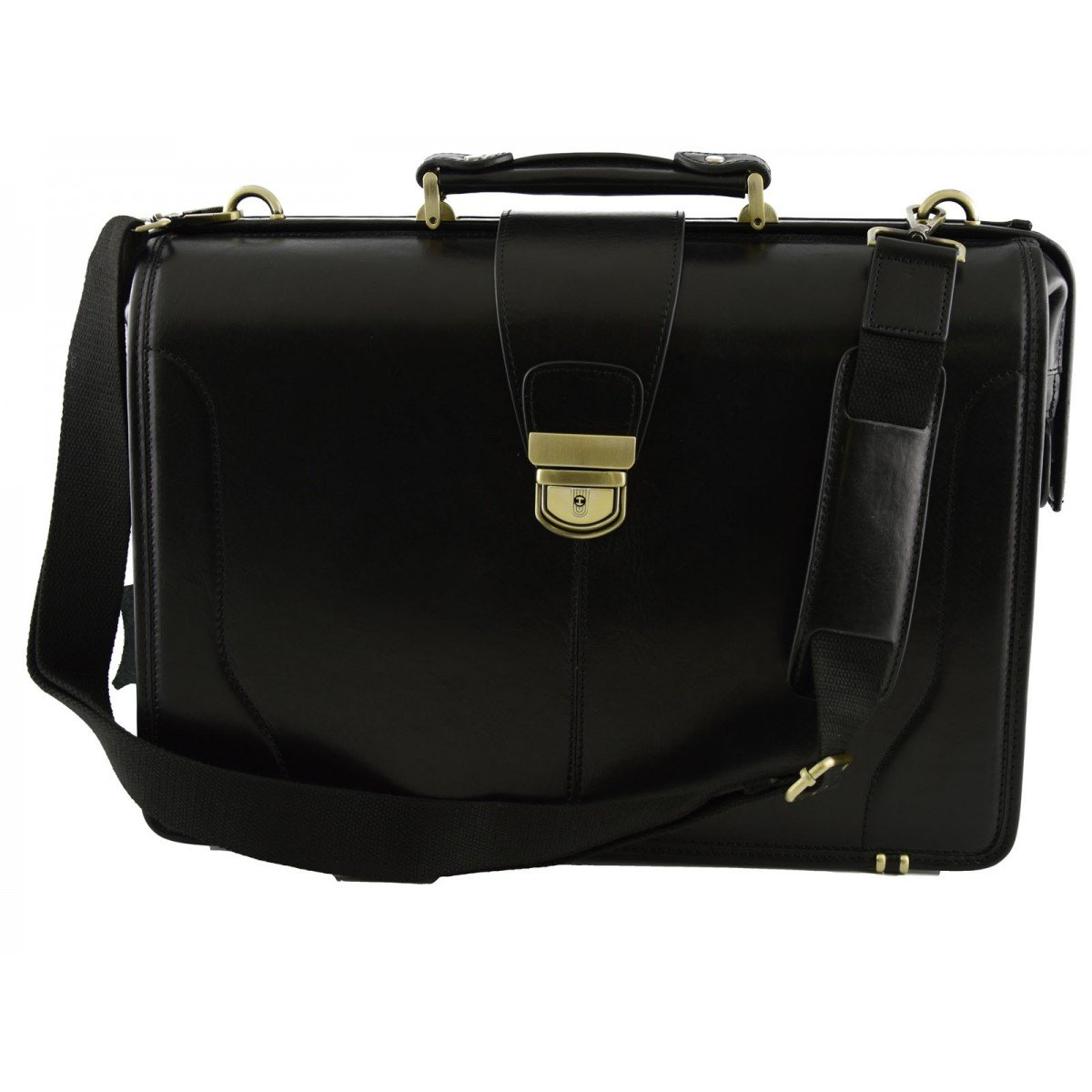 Made In Italy Genuine Leather Doctor Bag, Three Compartments Color Black - Business Bag B01MXVZQIY