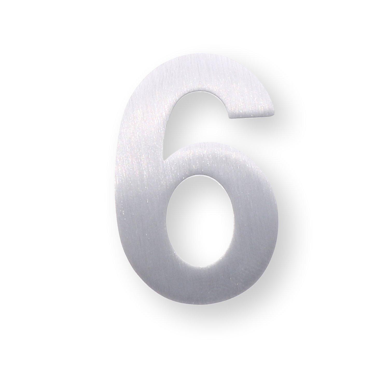 Metal number 6 brushed stainless steel height 4 cm, wall, door tag/number, –  self adhesive dieHolding