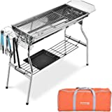 "Nafurno Foldable Charcoal BBQ Grill Set, 29"" Stainless Steel Portable Barbecue Grill with Non-Stick Frying Pan & Other 7 Accessories Grill for Hiking Camping Picnics"