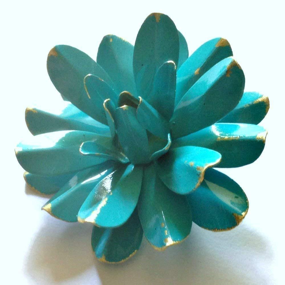 93b87a931e0 Amazon.com: 60s Style Bright Aqua Blue Painted Enamel Flower Brooch  Antiqued Water Lily: Handmade