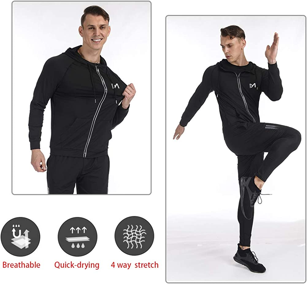 Running Jacket for Men, Long Sleeve Shirt Hooded Track Top Reflective Full Zip Sports Fitness Workout Gym Active Jacket: Clothing