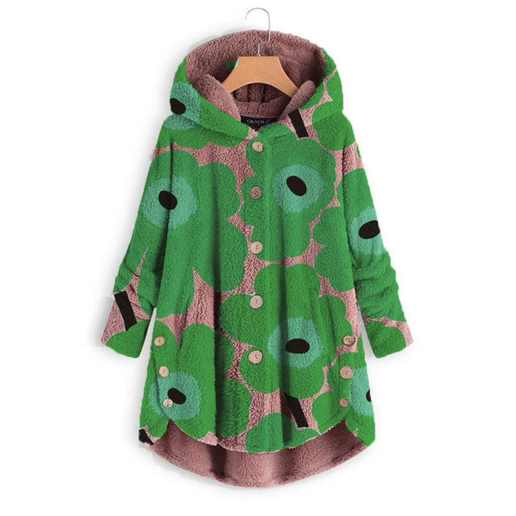 Pandaie Woemns Fluffy Fleece Jacket Hooded Coat Flowers Buttons Hoodie Pullover Winter Plush Sweatshirt Jackets Green by Pandaie