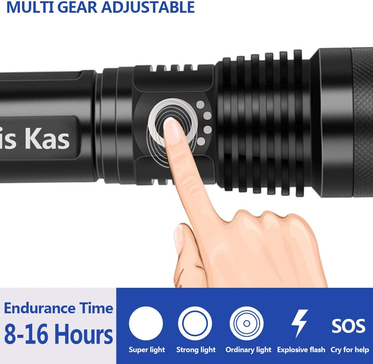 Waterproof Power Display Rechargeable Flashlights LED Tactical Flashlight,Hand Held Light with Rechargeable Battery for Camping Hiking Outdoor Activity Emergency(black) High Lumens Zoomable 5 Modes