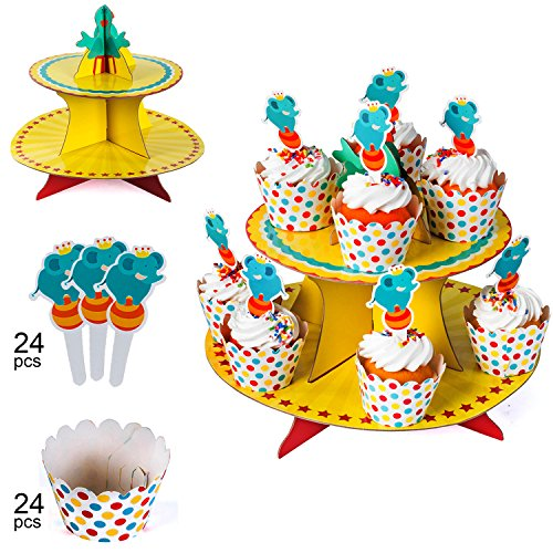 Circus Party Supplies - Circus Cupcake Stand - Cupcake Wrappers and Cupcake Toppers - Kids Birthday Carnival Party Supplies – Circus Themed Party Supplies for Kids by Tigerdoe ()
