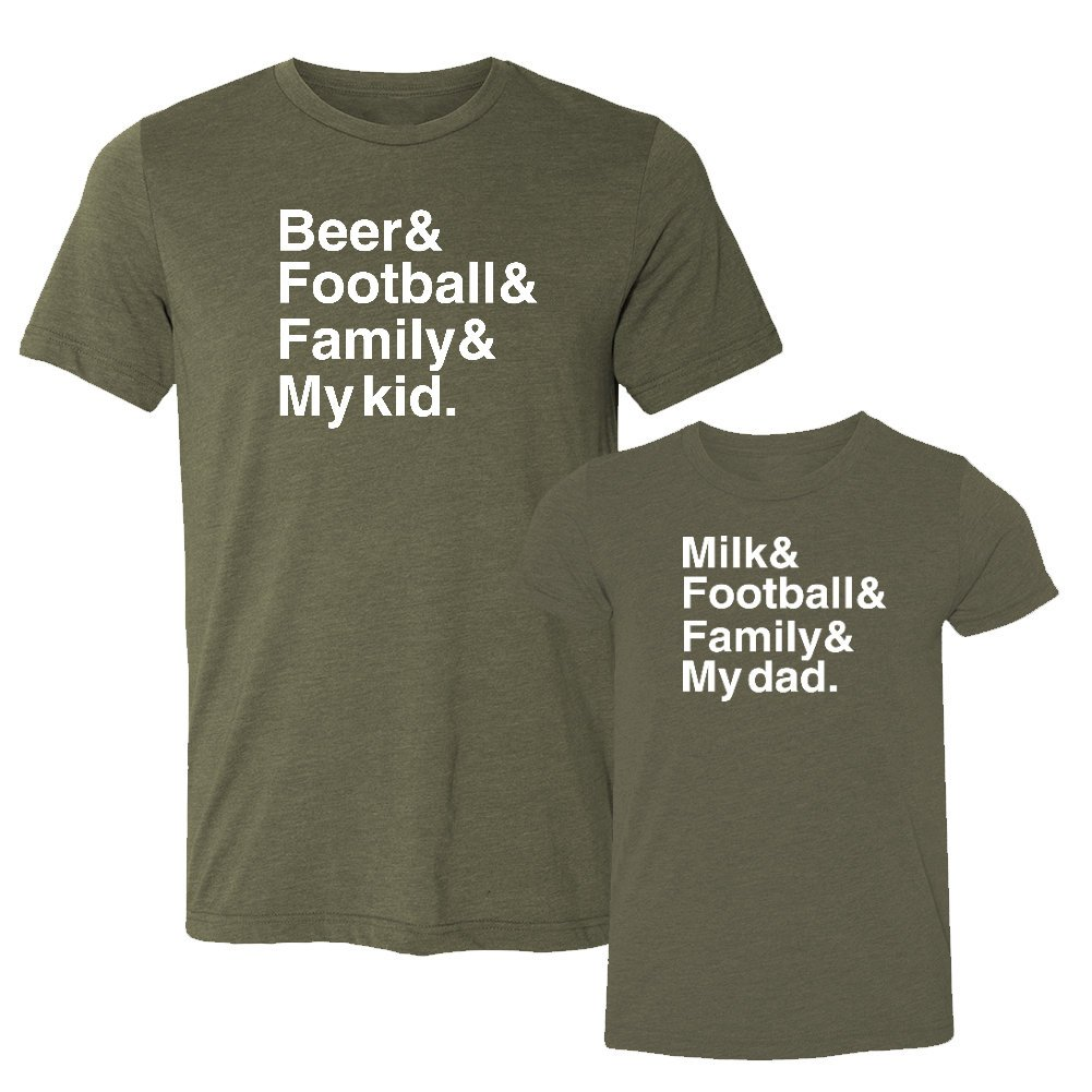 We Match!! - Beer & Football & Family & My Kid/Milk & Football & Family & My Dad - Matching Two Triblend T-Shirts Set (12-18M T-Shirt, T-Shirt Medium, Olive, White Print) by We Match!