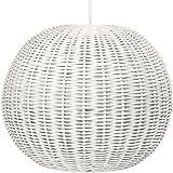 """KOUBOO Handwoven Wicker Ball Pendant Light, Diameter 18"""" , White"""