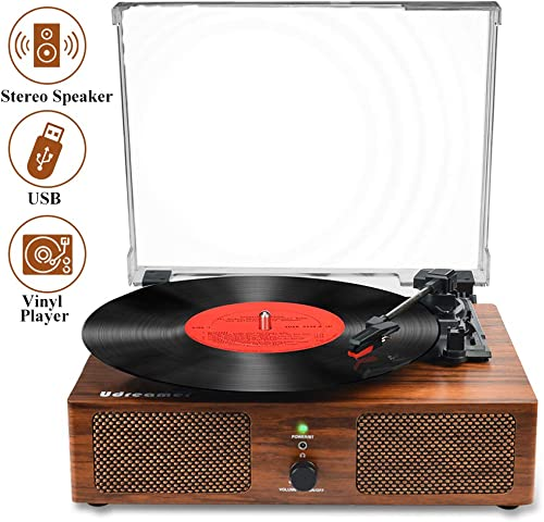 Vinyl Record Player,Bluetooth Turntable with Built-in Speakers and USB, Belt-Driven Vintage Phonograph Record Player 3 Speed for Entertainment and Home Decoration
