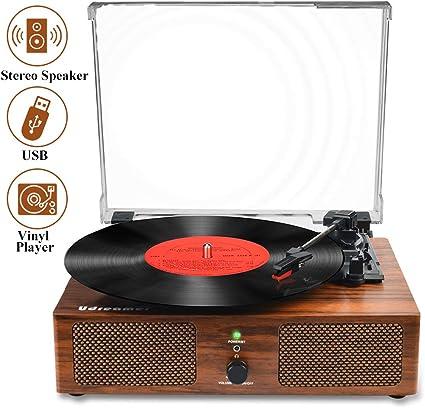 Bluetooth Vintage Vinyl Record Player Belt-Driven 3-Speed Turntable Speakers RCA