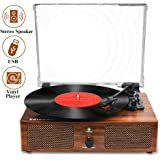 Udreamer Vinyl Record Player Bluetooth Turntable with Built-in Speakers and USB Belt-Driven Vintage Phonograph Record Player 3 Speed for Entertainment and Home Decoration