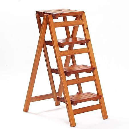 LXF - Taburete de Escalera Plegable de Cuatro peldaños para Biblioteca en casa, Taburete de Madera: Amazon.es: Hogar