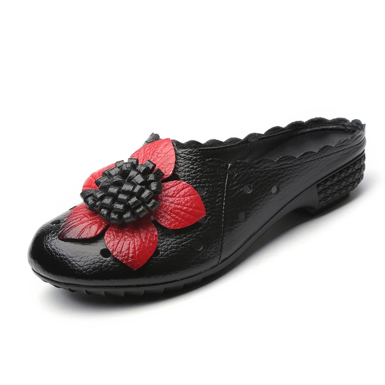 Summer Genuine Leather Flat Shoes Women Slides Cut Out Handmade Flower Round Toes Sandals