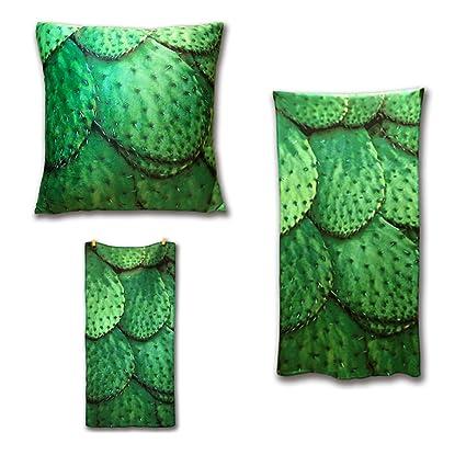harson & Jane Flora Cactus toalla de impresión con toalla de baño y cojín Cover Set