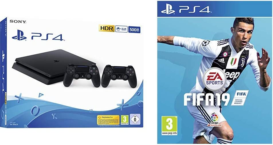 Playstation 4 (PS4) - Consola 500 Gb + 2 Mandos Dual Shock 4 (Edición Exclusiva Amazon) + FIFA 19 Edición Estándar: Amazon.es: Videojuegos