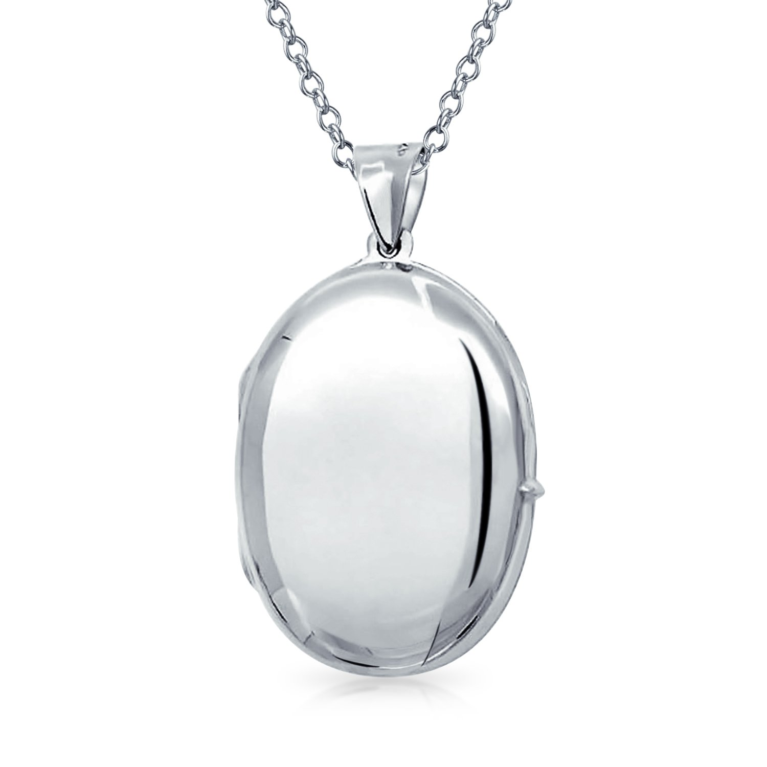 Bling Jewelry Timeless Polished Oval Locket Pendant Sterling SIlver Necklace 18 Inches SSTR-VLC12